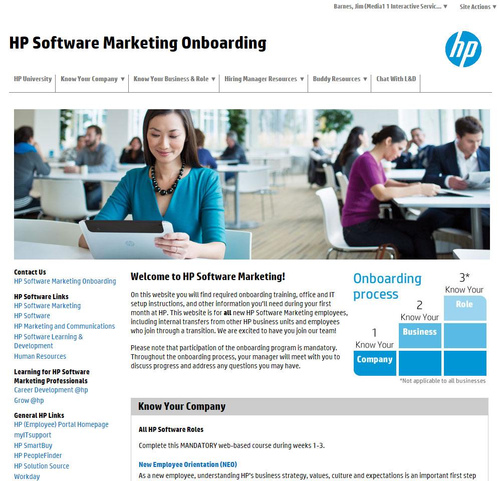 HP Software Marketing Onboarding Portal -